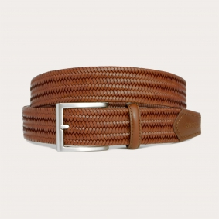 Braided elastic stretch bonded leather belt, brown
