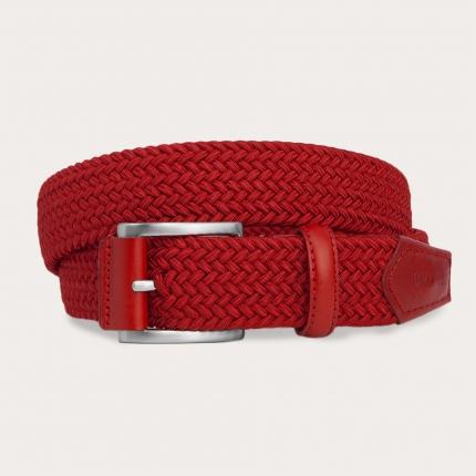 Braided elastic stretchbelt, red