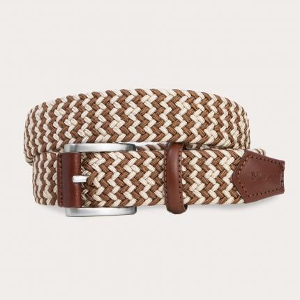 Cintura intrecciata elastica beige e marrone