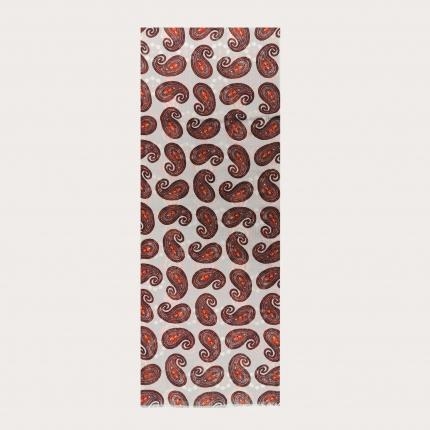 Tubular wool scarf with paisley motif, brown and orange