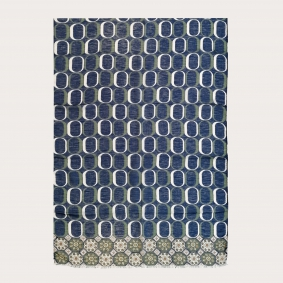 Long scarf in modal, linen and silk, blue and green geometric patterns