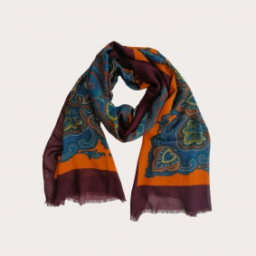 Light virgin wool scarf with paisley patterns, burgundy, orange and light blue