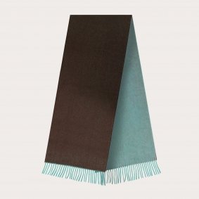 Warm cashmere scarf with fringes, brown and green
