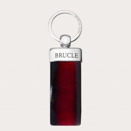 Porte clés rouge en cuir tamponné à la main