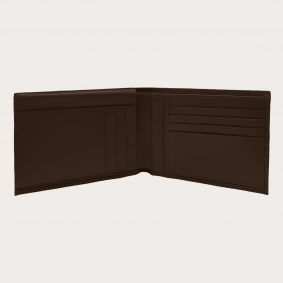 Brucle Men's bifold leather wallet with flap, dark brown