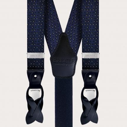 Men's suspenders in silk, faux dotted pattern blue