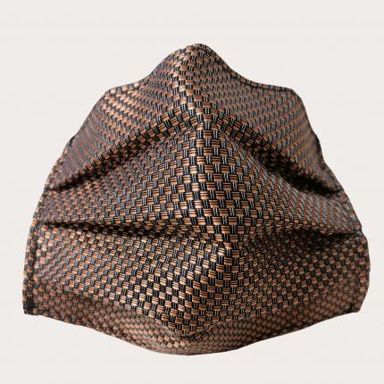 StyleMask Mascherina facciale filtrante in seta, fantasia a quadri nero e bronzo