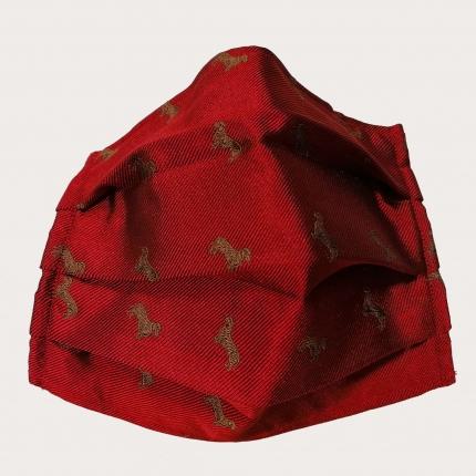 StyleMask Mascherina facciale filtrante in seta, fantasia bassotti rossa