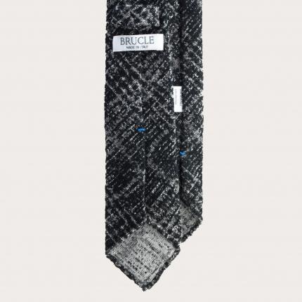Cravatta sfoderata in lana e seta tartan grigia