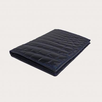 Portafoglio portadocumenti verticale di coccodrillo, blu lucido