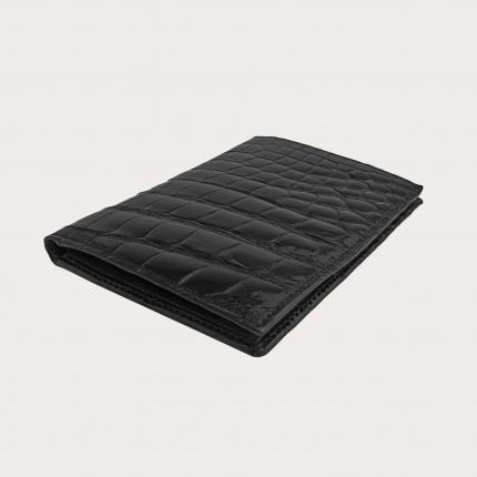 Portafoglio portadocumenti verticale di coccodrillo, nero lucido
