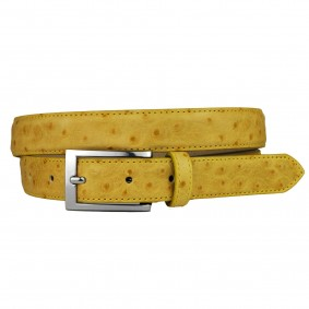 Ostrich print belt Yellow