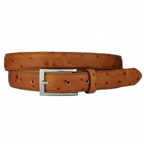 Ostrich print belt orange nektarine