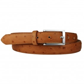 Genuine leather belt with ostrich print, nectarine orange