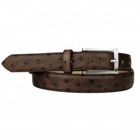 Ostrich print belt Brown