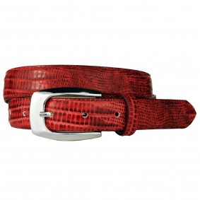 Genuine leather belt with lizard print, red