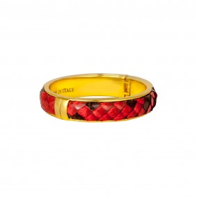Python Leather Bracelet Buckle Red