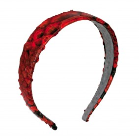 Headband python leather red