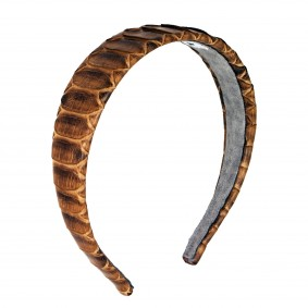 Headband python leather brown