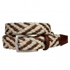 Braided Jeans and Leather Belt white