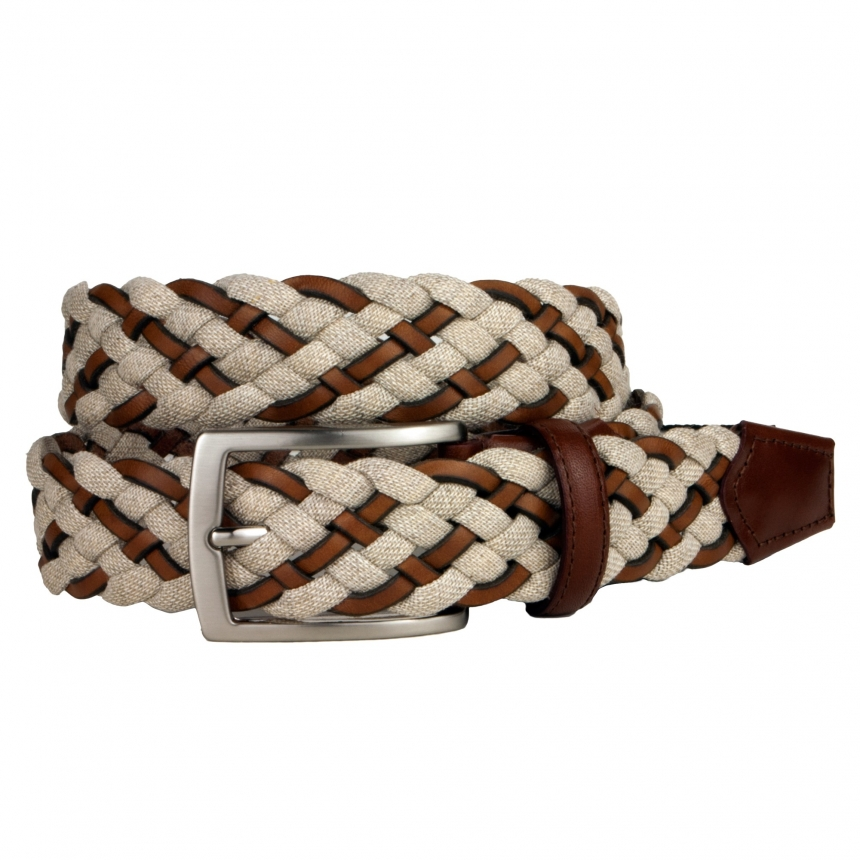 Woven Jeans and Leather Braided Belt