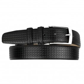Men's Dress Black Pied de Poule Leather Belt