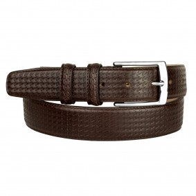 Men's Dress Brown Pied de Poule Leather Belt