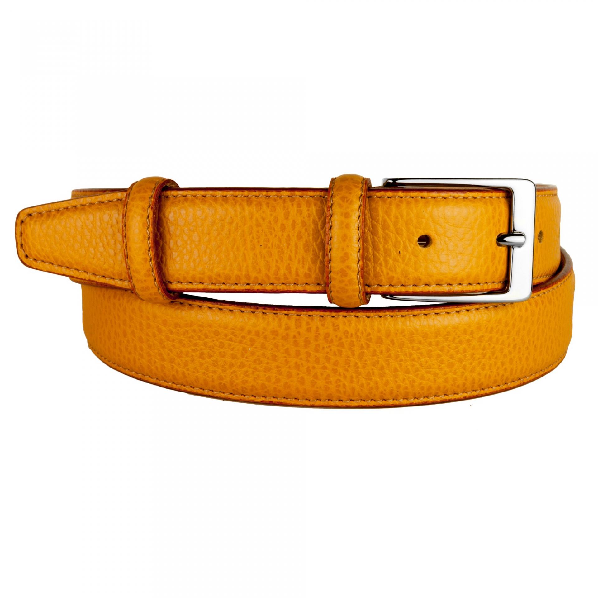 Yellow ocher leather belt