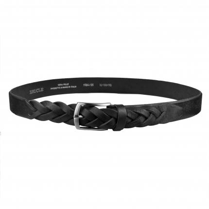 Cintura nera in cuoio con punta intrecciata a mano