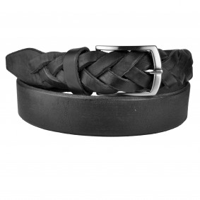Genuine leather belt with braided end, black