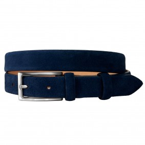 Women blue suede leather belt