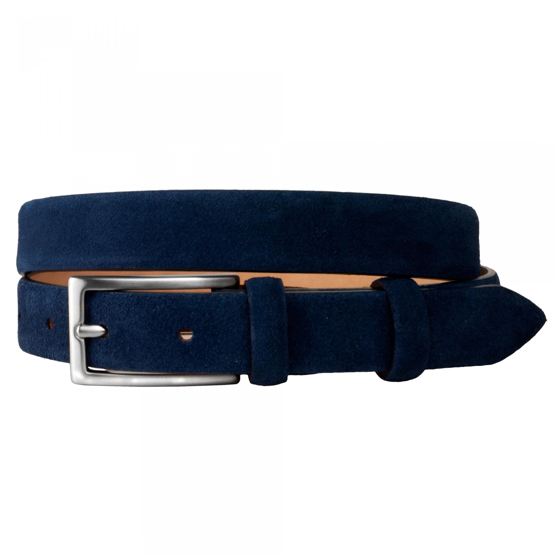 ceinture femme bleu cuir daim