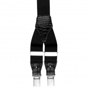 Braces suspenders Black croco print