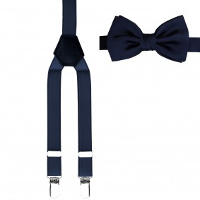 braces suspenders + bow tie blue kids