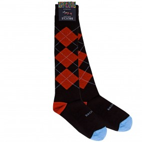 Winter socks men tartan orange