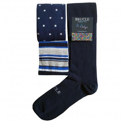 Lot de 3 paires de chaussettes bleu fantaisie