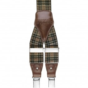 suspenders tartan check brown