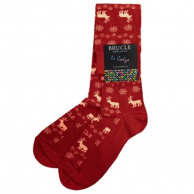 Chaussettes homme rouge noel renne