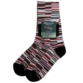 Chaussettes femme rayée rose