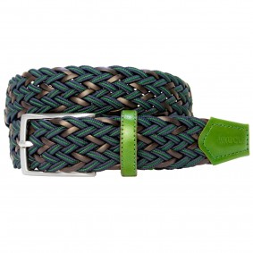 Braided Nylon and Leather Belt blue green