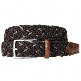 Braided Nylon and Leather Belt blue brown