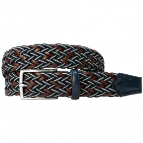 Braided nylon and Leather Braided Belt brown blue