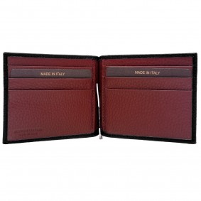 Money clip leather black red wallet