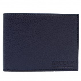 Genuine leather bifold wallet, blue grey