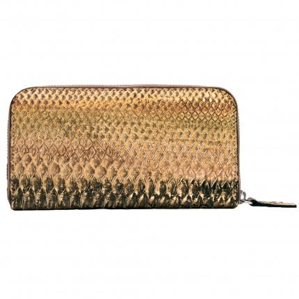 Portefeuille doré en python zippé, pour femme