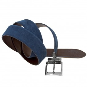 Reversible belt blue and brown