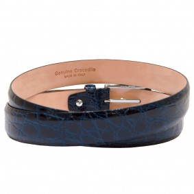 Crocodile leather belt blue