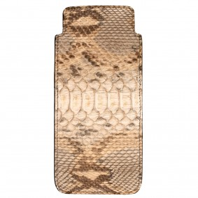 glass case python leather tan