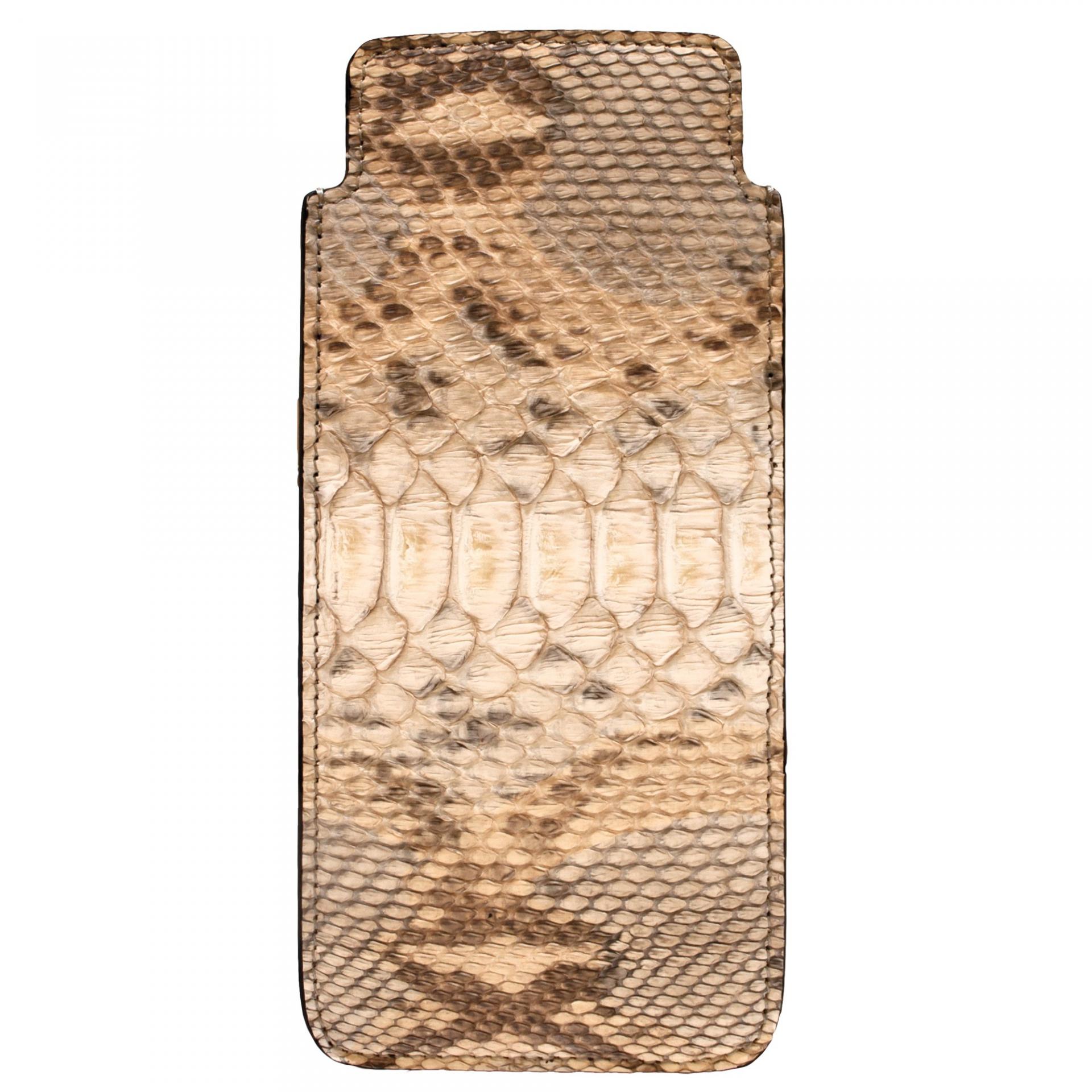 Brillenetui python leder beige
