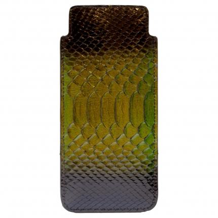 Etui à lunettes vert lucid en cuir véritable python